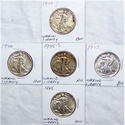 (5X The Bid)  U.S. Walking Liberty Halves.