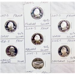 "(7X The Bid) U.S. Silver ""Proof"" Washington and State Quarters."