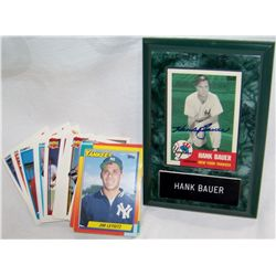 Hank Bauer Signed Plaque and 50  Assorted Rookie Cards.