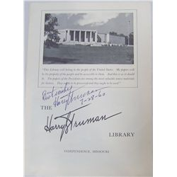 "Harry S. Truman Signed & Dated Truman Library Leaflet. ""Best Wishes 7-28-60""."
