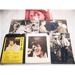 Four ELVIS Pictures and Two ELVIS 8-Track Tapes.