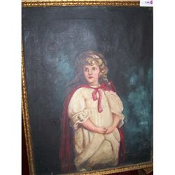 Portrait of a Young Girl, English School Antique Oil on canvas Unsigned  painting framed 18.5T x23.5