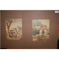 Pair of Water Color prints depicting japanese Temples, matted unframed