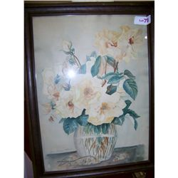 Vintage Watercolor, Mrs. Anna A Dorurn signed framed 17T x 22 W