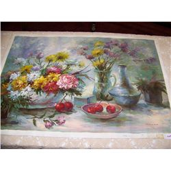 Oil on Canvas Painting signed Hallam Still Life with Flowers 24T x 39 W