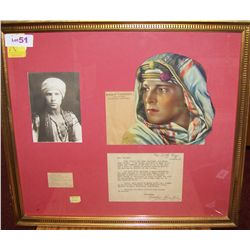 RUDOLPH VALENTINO FRAMED MEMORABILIA DISPLAY.
