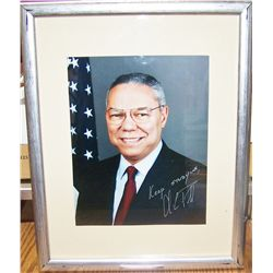 "COLIN POWELL SIGNED & DEDICATED PHOTOGRAPH ""KEEP STUDYING COLIN POWELL"" FRAMED"