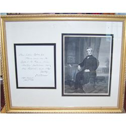 OLIVER WENDELL HOLMES HAND WRITTEN LETTER DATED JAN 17TH 1885 W/ CUSTOM FRAMED ENGRAVING