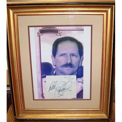 DALE EARNHARDT SR. SIGNED CUTOUT & PICTURE W/ C.O.A FRAMED