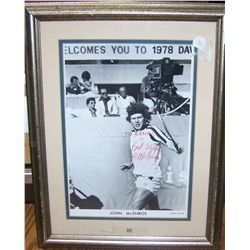 JOHN MCENROE signed and dedicated early photograph framed