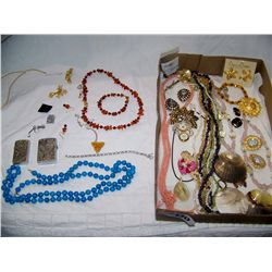 Box and Bag of Assorted Costume Jewelry, Some Vintage as Shown.