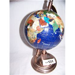 "Natural Semi-Precious Gem Stone Globe on Stand. 13""T."