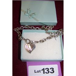 Sterling Silver Bracelet & Pendant Marked Tiffany with Box as Shown.