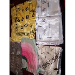 Five Silk Scarves. Including: Two Fendi, Prada, Chanel, and Christian Dior.