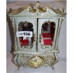"Handsome Jewelry Box w/ Clock & Music Box. 14""T."