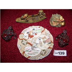 (5) Piece Asian Decorative Lot Including Hand Painted Dragon, Plate, as Shown.