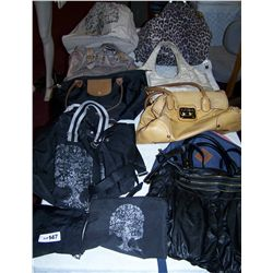 Lot of (10) Assorted Purses & Handbags, Some Name Brands in various condition