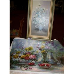 (2) Piece Painting Lot Oil on canvas by Hallam (unframed) & Vintage Floral Still Life by Rossy