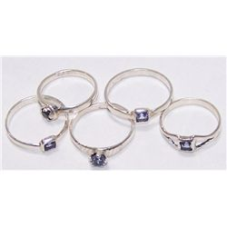 LOT OF (5) STERLING SILVER (.875) RINGS W/ STONES