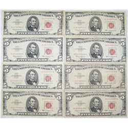 (8X$) CRISP $5 UNITED STATES NOTES SERIES 1963 RED SEAL.