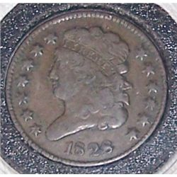 1828 EARLY HALF CENT. GEM VF+ CONDITION. 13 STARS.