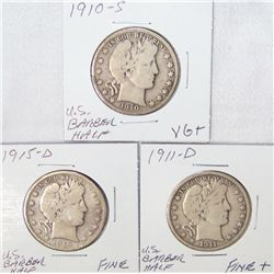 (3x$) U.S BARBER HALF DOLLARS. VG+ to FINE+. 1910-1933.