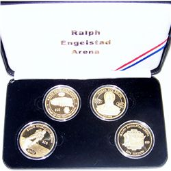 FOUR 22K GOLD ENHANCED RALPH ENGELSTAD ARENA COMMEMORATIVES.