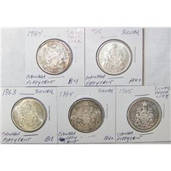 (5X The Bid) Silver Canadian Fifty-Cent Pieces. 1963-1965.