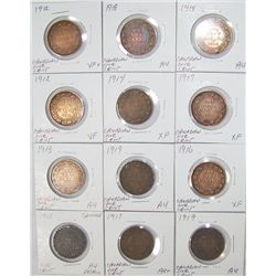 (12X The Bid) Early Canadian Large Cents.