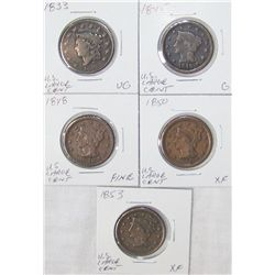 (5X The Bid)  U.S. Large Cents. G-XF Cond. 1833-1853.