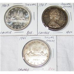 (3X The Bid)  Silver Canadian Dollars. AU+ to BU Cond.