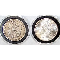 (2X The Bid)  Two Morgan Silver Dollars.