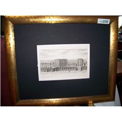 "Antique Engraving ""Palais En Terraffe"" Chez. P. Mariette 7. Framed without glass or plexi"