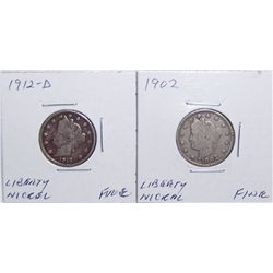 (2X$) Liberty Head Nickels 1902 & 1912-D