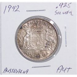 1942 Austrailia Florin .925 Silver AU+ Condition