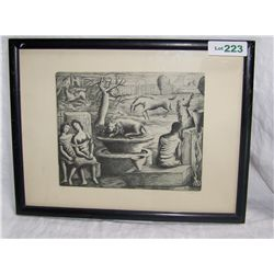 VINTAGE SURREALISTIC  ETCHING SIGNED LUNA #5  FRAMED