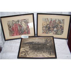 (3X$) VINTAGE DRAWINGS DEPICTING ROMAN SOLDIERS ON THE MARCH