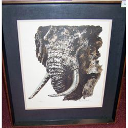 "Paul Sahel ""Portrait of an Elephant"" Limited edition custom framed lithograph 38/275"