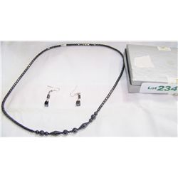 (2) Piece Hematite Necklace & Earring Set