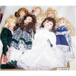 Lot of (8) Hand Painted Collectible Dolls