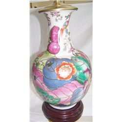 Exquisite Hand Painted Chinese Floral Lamp w/ Silk shade