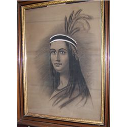 "ANTIQUE MIXED MEDIA DRAWING ""PORTRAIT OF AN INDIAN PRINCESS""( Image 29.5t X 21 w )"