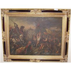 STUYTS Lucien, 1879-1962 (Belgium)   Antique Battle Scene Painting.