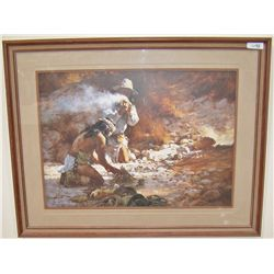 "HOWARD TERPNING ""APACHE FIRE MAKERS"" 39/1000 C. 1985 Custom Framed"