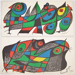 (2X$) Two Joan Miro Unframed Lithographs.