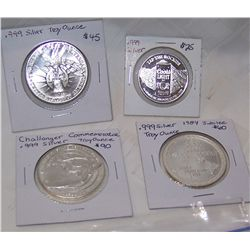 (4X$) FOUR .999 SILVER COMMEMORATIVE STRIKES ( OVER 3.5 OZ OF .999 SILVER)