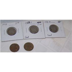 (5X$) BUFFALO NICKELS 1915, 1916-D, 1927, 1928-S, 1936.