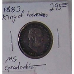 1883 RARE HAWAIIAN KALAKAUA QUARTER.  (GRADABLE CONDITION)