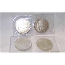 (4X$) CANADIAN SILVER DOLLARS AU- MINT CONDITION 1962-1965