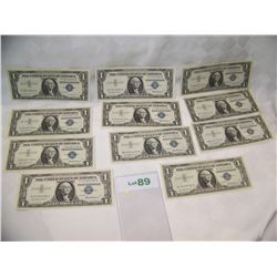 (11x$) $1 SILVER CERTIFICATES AU-UNC CONDITION SERIES 1957